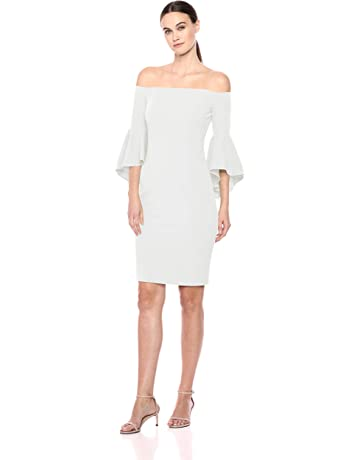 d603db040bc Calvin Klein Women's Off The Shoulder Solid Bell Sleeve Sheath Dress