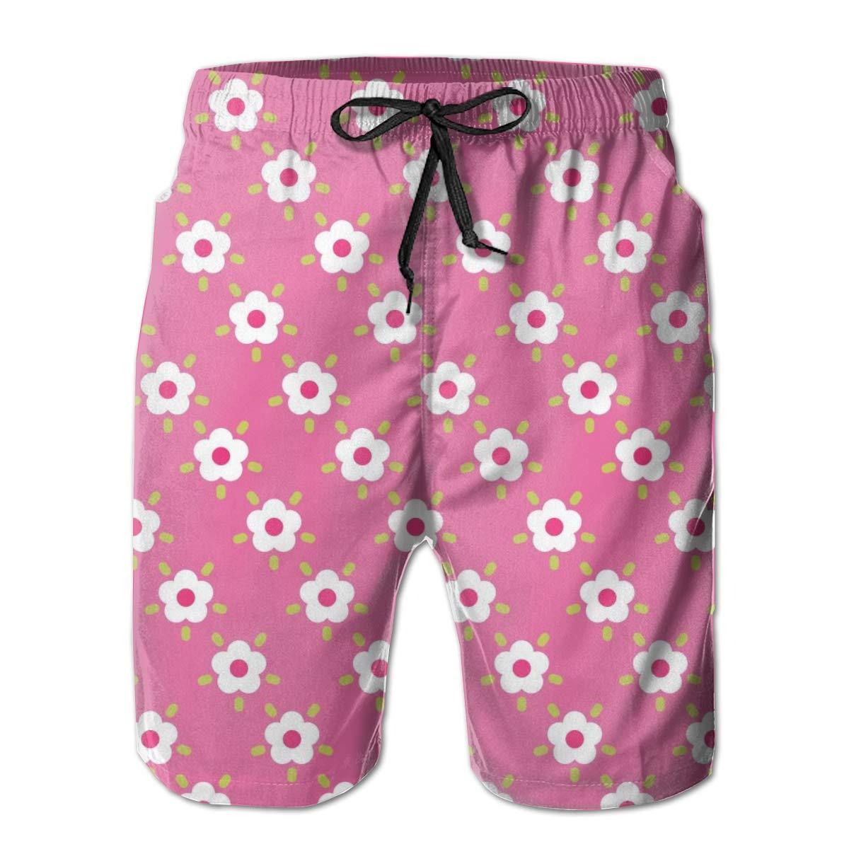 KIENGG Mens Swim Trunks with Mesh Lining Pockets White Pink Flowers Boys Polyester Board Shorts Swimwear