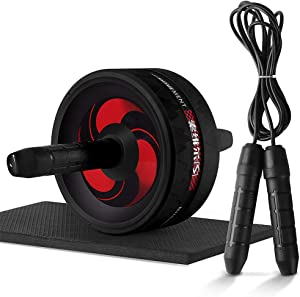 Lixada Abdominal Roller Wheel, 3-in-1 Ab Roller Kit with Knee Pad Adjustable Jump Rope for Home Office Gym Fitness Workout Exercise for Men Women Abdominal Exercise