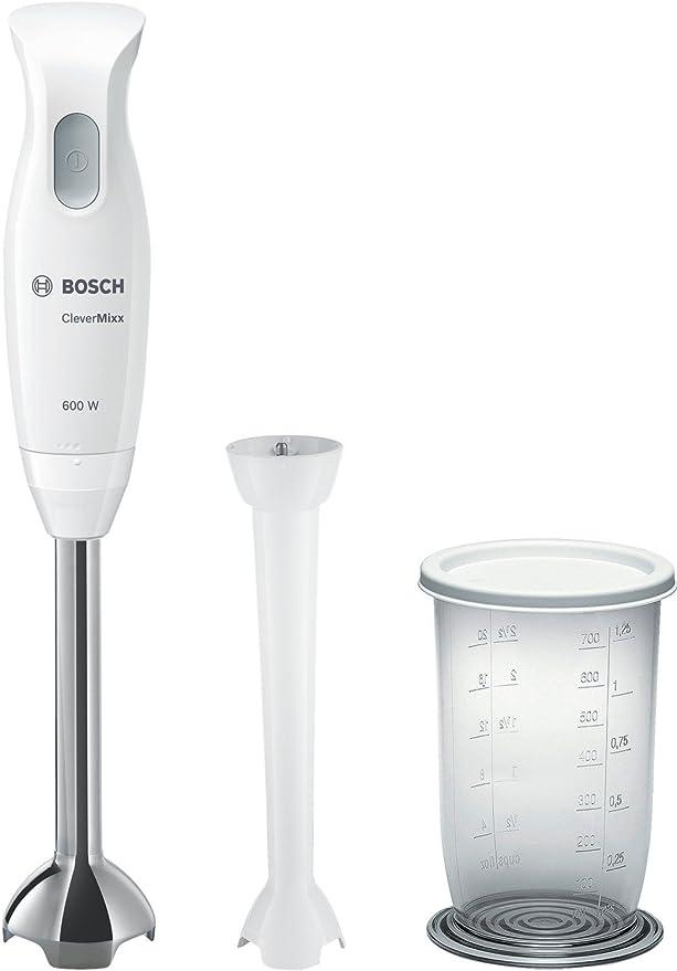 Bosch MSM26130 CleverMixx - Batidora de mano, cúpula con cuatro cuchillas, 600 W, color blanco y gris