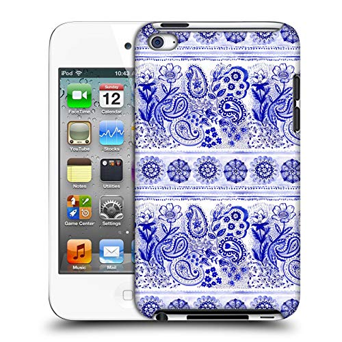 Official Laura Thompson Paisley and Mandala Indigo Blue Hard Back Case Compatible for Apple iPod Touch 4G 4th Gen
