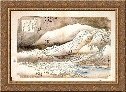 Evening Hiroshige Snow (Evening Snow on Mount Hira 24x18 Gold Ornate Wood Framed Canvas Art by Hiroshige)
