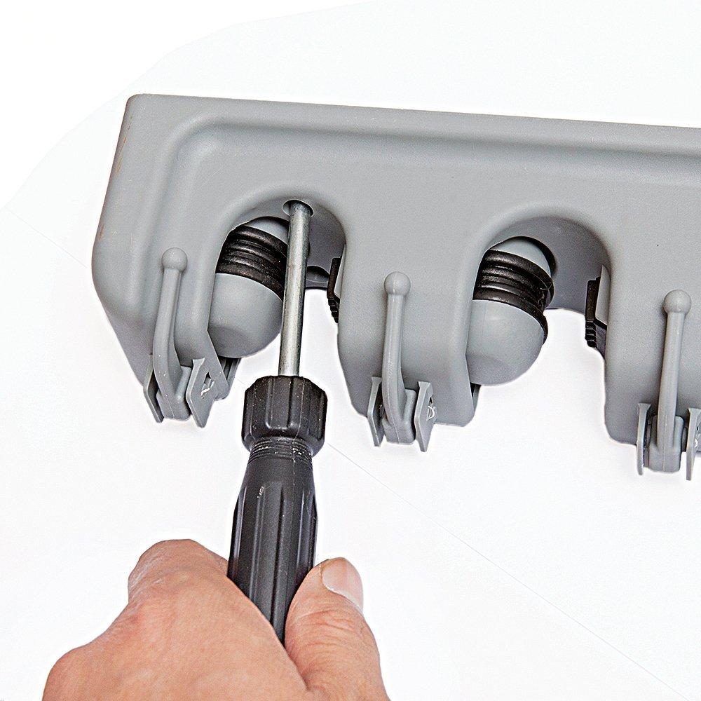 5 Non-Slip with 6 Hooks Towel Hooks Elumaxon Mop Broom Holder Wall Closet Mounted Organizer Elumaxon Direct Key Rack Broom Organizer