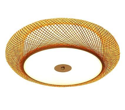 QQXDD Lámpara de Techo LED, Creative Rural bambú Arte ...