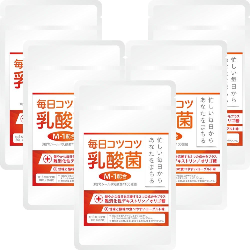 毎日コツコツ乳酸菌 ヨーグルト味 22.5g 5袋セット(1袋あたり250mg×90粒 約30日分) B07DR3PPW9