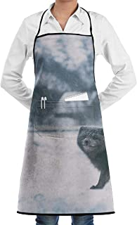 Osmykqe Black Arctic White Fox Aprons Bib for Mens Womens Cobbler String Adjustable Adult Kitchen Waiter Aprons with Pockets