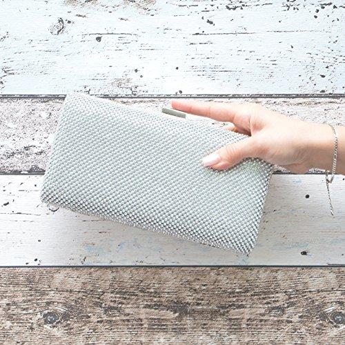 Damen Hard Case Strass Abendtaschen Clutch Umhänge Tasche Handtasche in 3 Farben Silber