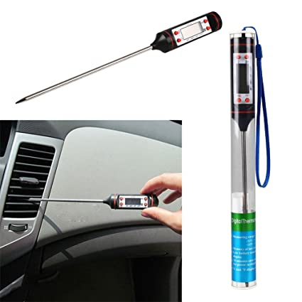 Hanbaili Auto Car Vehicle Air Conditioning Outlet LCD Digital Thermometer Gauge Equipment Tool ABS + Metal