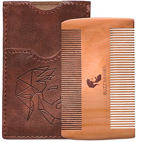 BuzzBarber Peach Wood Beard Hair Comb Odour-Free Extra Pocket Leather Case Shaping Tool Kit for Men