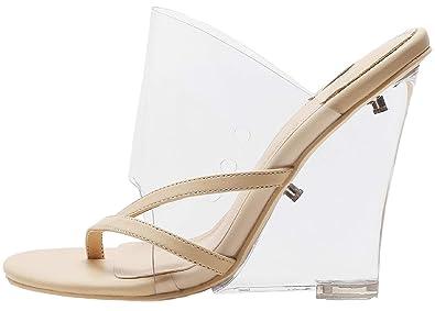 57507692bb87 Mackin J 405-1 Women s PVC Lucite Clear Wedge Heel Open Toe Slip On Mule