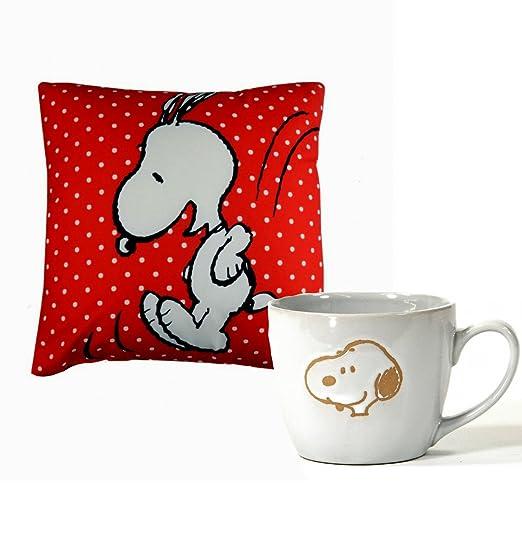 Snoopy 2 unidades Cojín y taza • - Cojín decorativo (40 x 40 ...