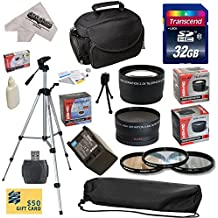 "Ultimate Accessory Kit for Canon HF S10 S11 S20 S21 S30 S100 G10 G20 G25 HFS10 HFS11 HFS20 HFS21 HFS30 HFS100 HFG10 HFG20 HFG25 XA10 Video Camera Camcorder Includes - 32GB High-Speed SDHC Card + Card Reader + Vivitar 2000 mAh Replacement Battery for Canon BP819 BP-819 + 3 Piece Pro Filter Kit (UV, CPL, FLD) + 0.43x HD2 Wide Angle Panoramic Macro Fisheye Lens + 2.2x HD2 AF Telephoto Lens + Deluxe Padded Carrying Case + Professional 54"" Tripod + Lens Cleaning Kit including LCD Screen Protectors"