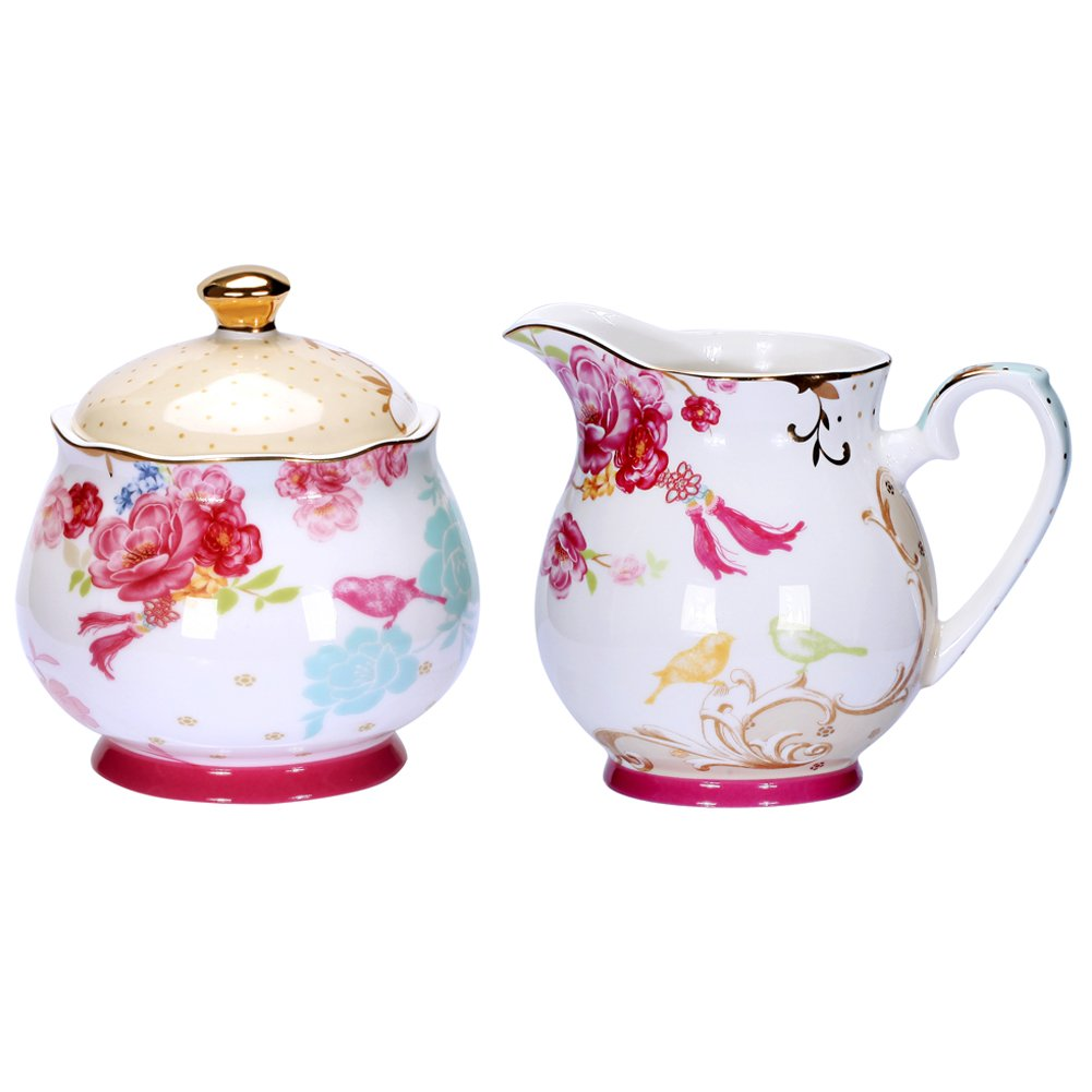 AWHOME Sugar and Creamer Set for Coffee and Tea Red Floral Painted Classic Porcelain by AWHOME