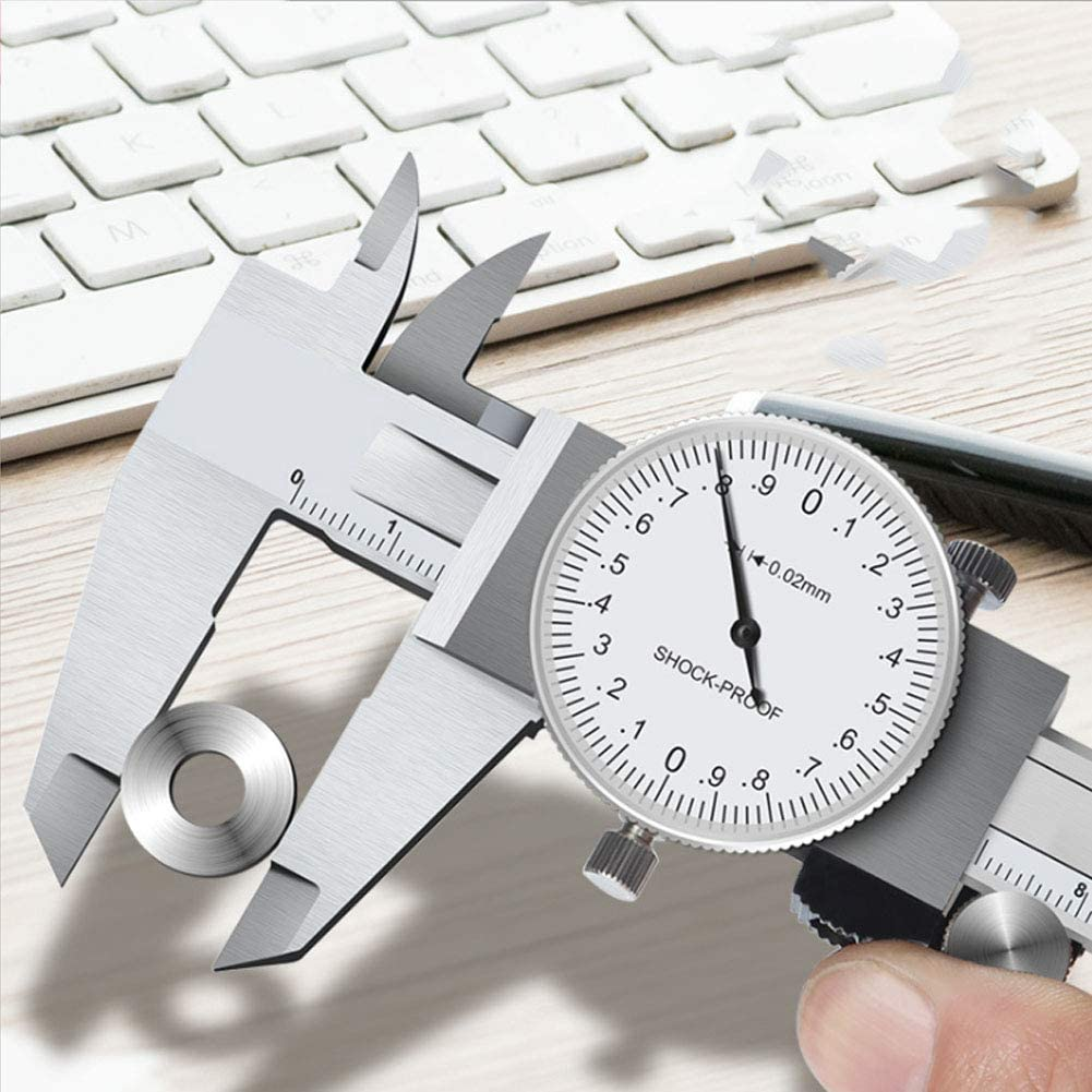 0-150Mm//0.01Mm One-Way Shockproof Measuring Tool Shock-Proof Caliper Vernier Caliper with Dial Portable,All Metal Stainless Steel High Precision Dial Caliper