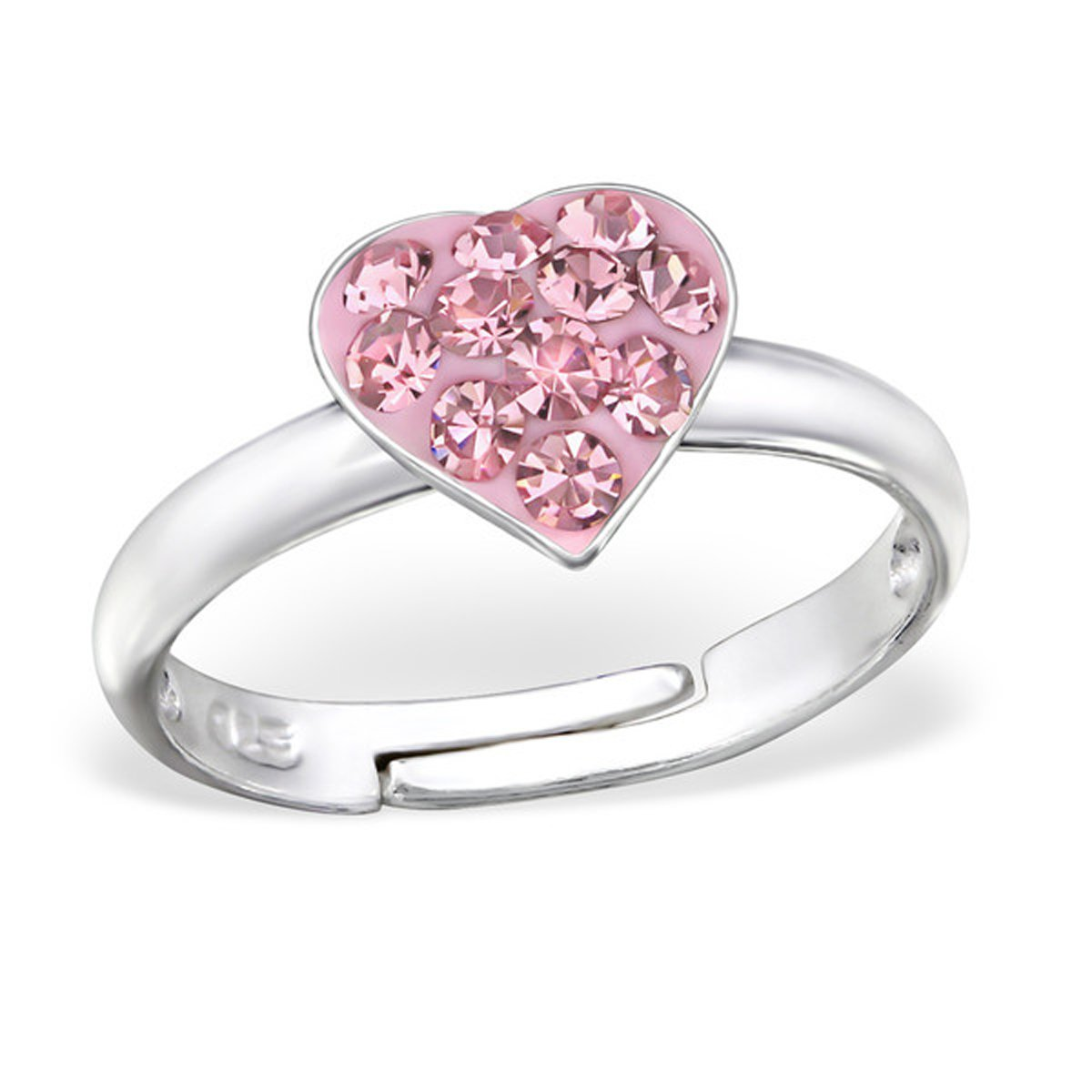 Aquamarine White Crystal Heart Ring Size Adjustable 2-4 Sterling Silver 925 (E12234) (Pink)