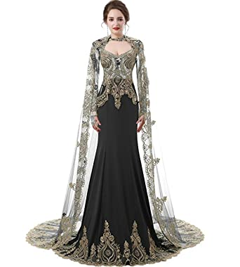 Womens Gold Lace Mermaid Long Sleeve Prom Gown Satin Wedding Dress with Tulle Cloak Black US4