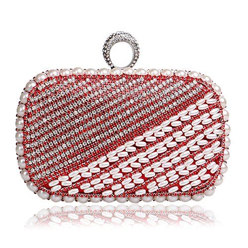 Pearl Gift Evening Beaded Glitter Clubs Shoulder Handbag Purse Ladies Prom For Red Clutch Diamante Bag Bag Wedding Women Party Bridal WwngfqFx
