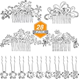 Gejoy 28 Pieces Wedding Hair Comb Pins Set, 4 Pieces Bridal Hair Side Comb and 24 Pieces Crystal Pearls Hair Pins Flower Clips Headpiece for Bride Bridesmaid