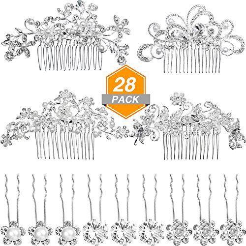 Gejoy 28 Pieces Wedding Hair Comb Pins Set, 4 Pieces Bridal Hair Side Comb and 24 Pieces Crystal Pearls Hair Pins Flower Clips Headpiece for Bride Bridesmaid by Gejoy