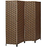 Decorative Freestanding Black Brown Woven Design 4 Panel Wood Privacy Room Divider Folding Screen