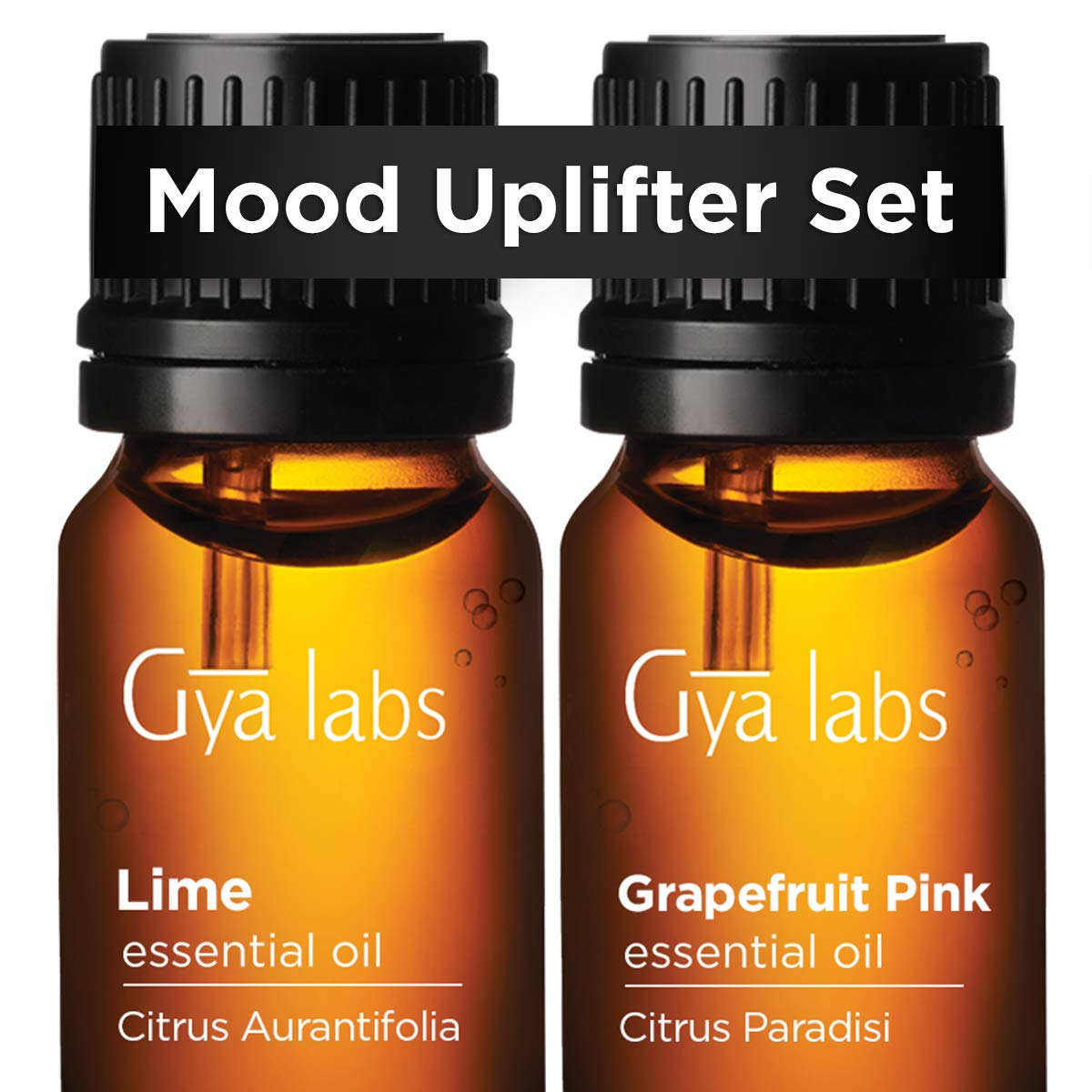 Lime Oil & Grapefruit Oil - Gya Labs Mood Uplifter Set for Brighter Moods - 100% Pure Therapeutic Grade Essential Oils Set - 2x10ml