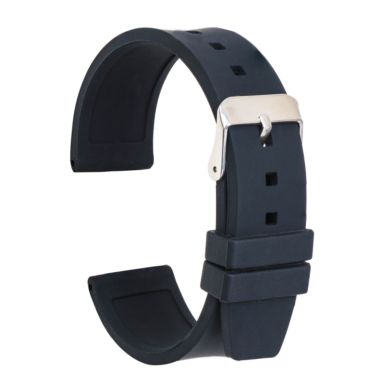 ullchroシリコン時計ストラップ交換ゴム時計バンド防水滑らかな柔軟な腕時計ブレスレット 16mm ブラック 16mm|ブラック ブラック 16mm B077D4XNB1