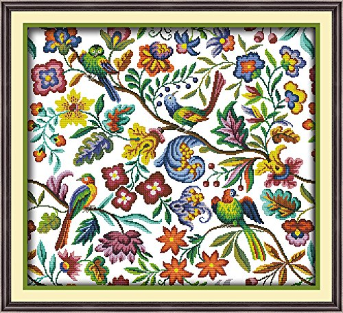 (CaptainCrafts Hot New Cross Stitch Kits Needlecrafts Patterns Counted Embroidery Kit - Birds' Twitter And Fragrance Of Flowers (WHITE))
