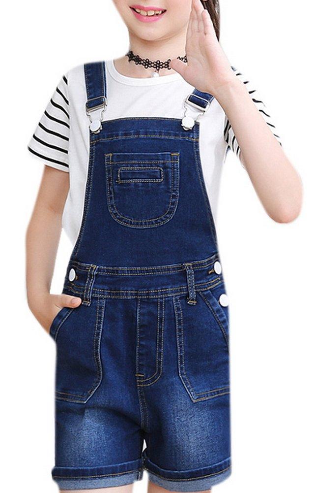 Luodemiss Girls's Casual Denim Overalls Bib Toddler Jeans Big Kids Outwear Cowboy Shorts 12 Dark Blue