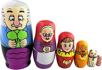 Set of 5 Farmers Family Russian Nesting Dolls 7 Inches