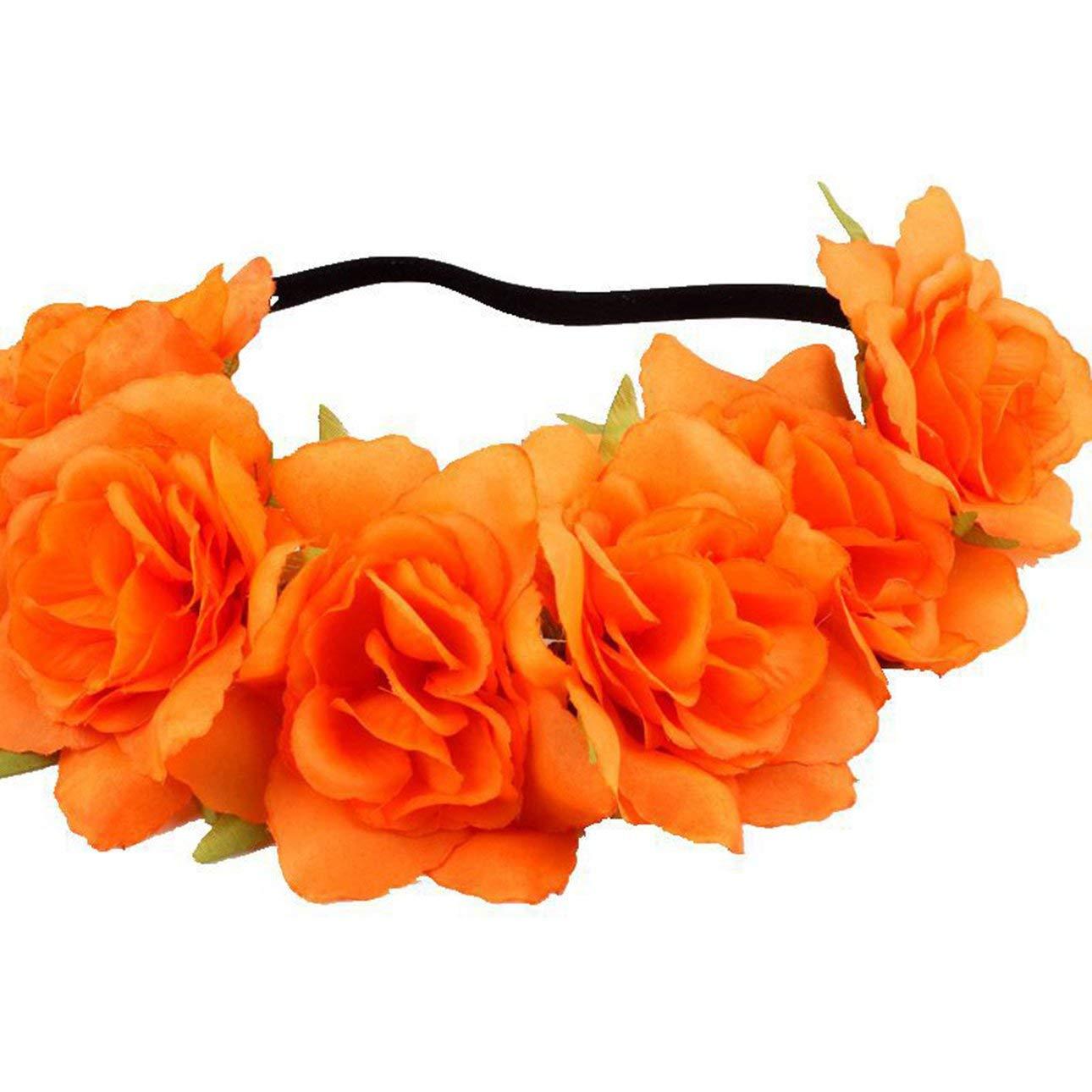 Liobaba Fashion Women Girl Flower Headband Hollow Elastic Hair Band for Wedding Party