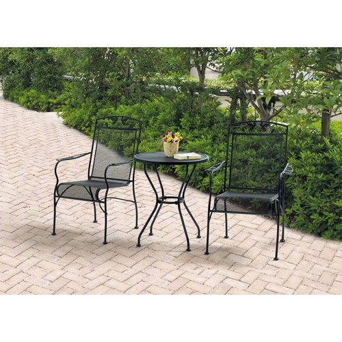 Wrought Iron 3 Piece Chairs & Table Patio Furniture Bistro Set, Black, Seats 2 (Cast Iron Patio Table And Chairs)