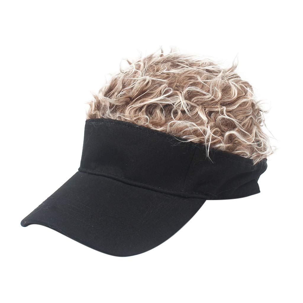 Wig Baseball Cap Sun Visor Cap Parent-Child Hat Peaked Adjustable Baseball Hat Spiked Hair Gag Visor Hat Cap (A)