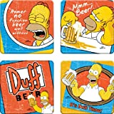 Vandor 67085 The Simpsons Duff Beer 4 pc Wood Coaster Set, Multicolor