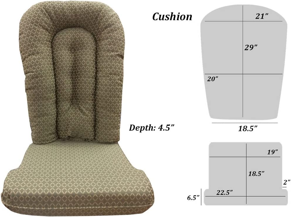 Replacement Cushion Set Glider Rocker, Green and Beige Tapestry Fabric with Burgundy Accents