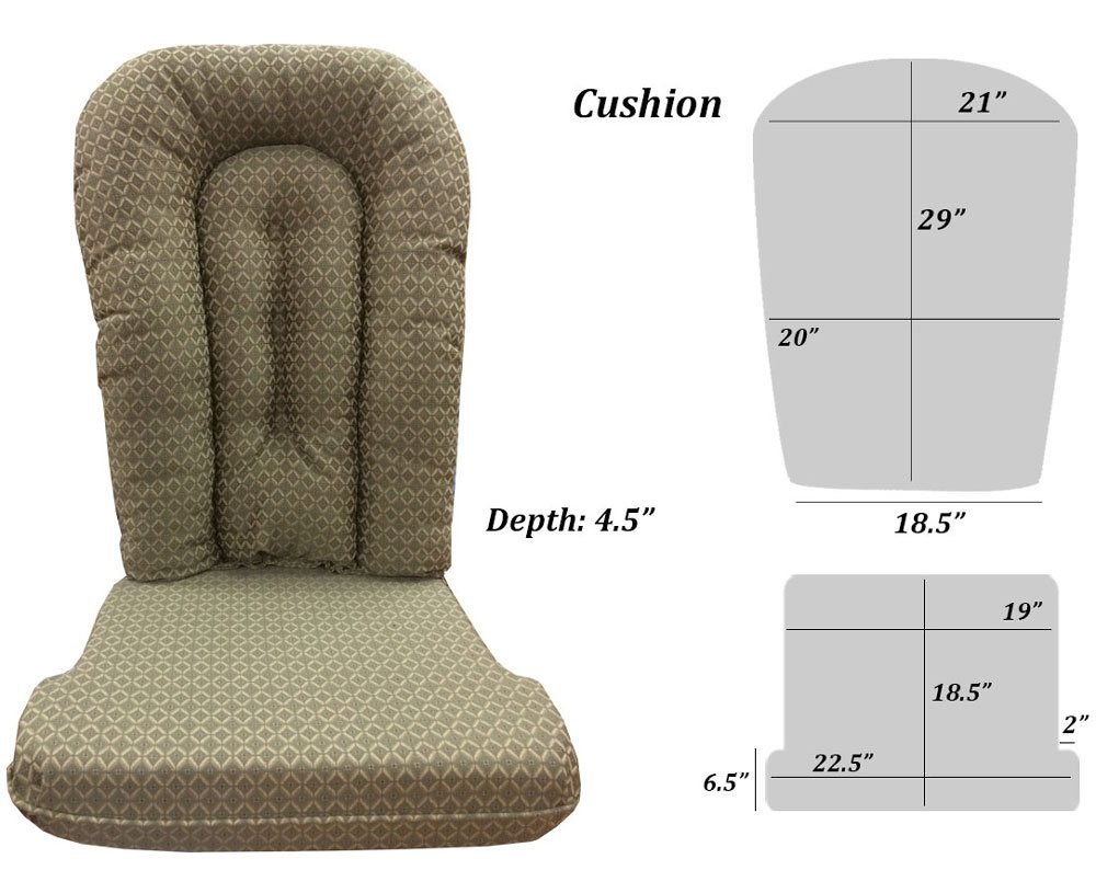 Glider Rocker Replacement Cushion Set, Pewter Fabric by Replacement Cushion Set