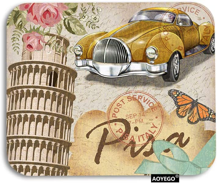 AOYEGO Italy Mouse Pad Vintage Italian Pisa Tower with Letter Car Rose Flower Butterfly Gaming Mousepad Rubber Large Pad Non-Slip for Computer Laptop Office Work Desk 9.5x7.9 Inch