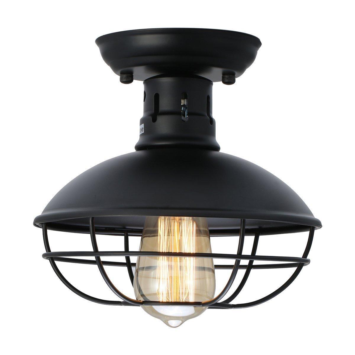 WEN Industrielle Metallkäfig-Deckenleuchte, E27 rustikale halb errichtete angebrachte hängende Beleuchtungs-Haube Schüssel-geformte Lampen-Befestigung für Land-Halle-Küche-Garagen-Portal-Badezimmer