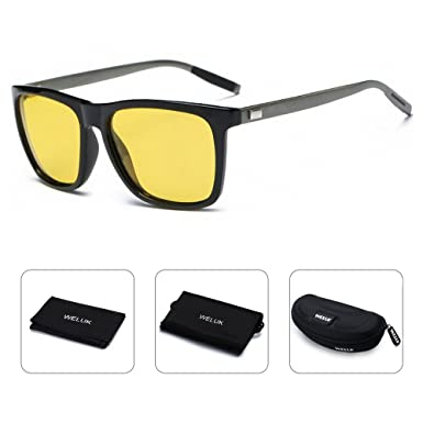 689685dfa6 WELUK Night Vision Driving Glasses Polarized Aviator Sunglasses for Men  Yellow Lens Anti-Glare