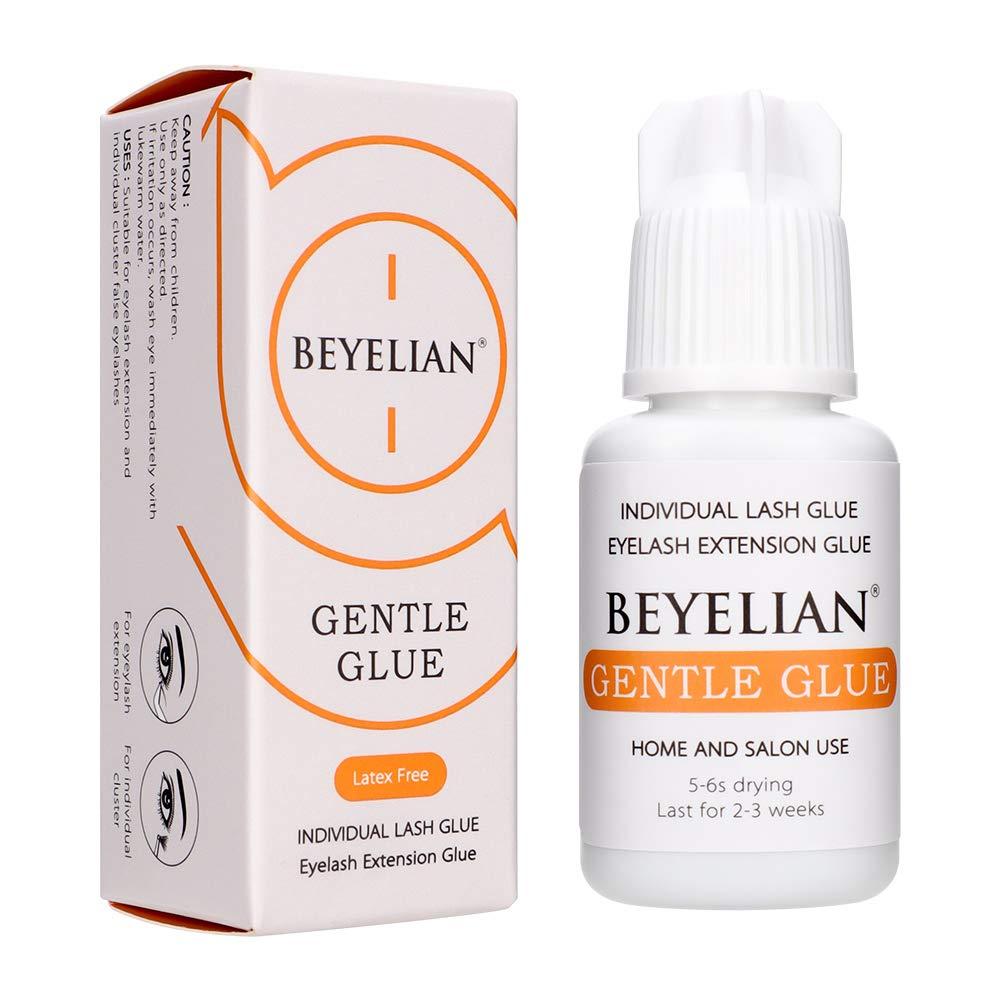 BEYELIAN Gentle Glue 5ml Eyelash Extension Adhesive Sensitive Eyes Low Irritation No Fume Individual Cluster Lash Glue Professional and Self Use