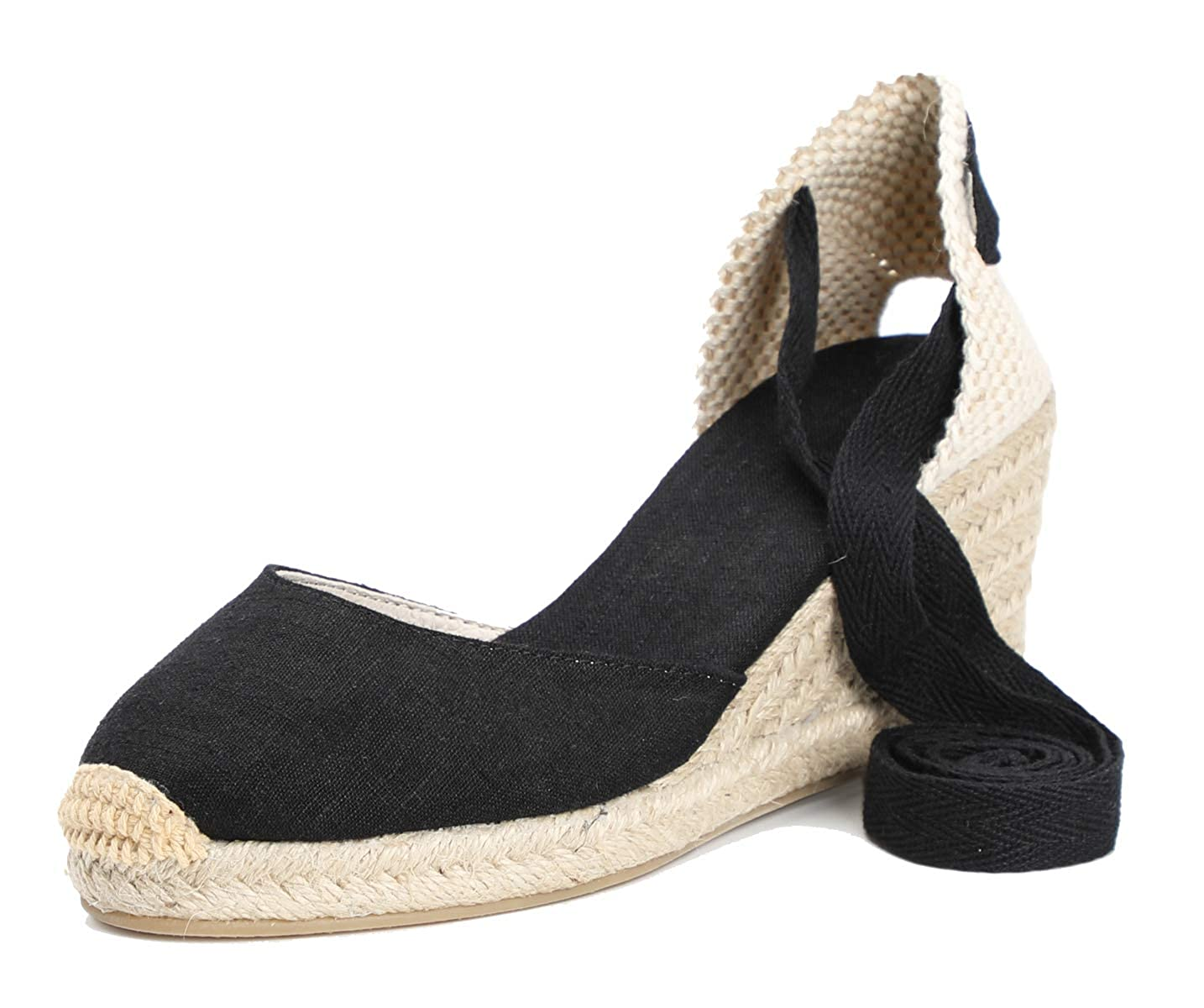 Black--2.5  Heel U-lite 3  Cap Toe Platform Wedges Sandals Women, Classic Soft Ankle-Tie Lace up Espadrilles shoes