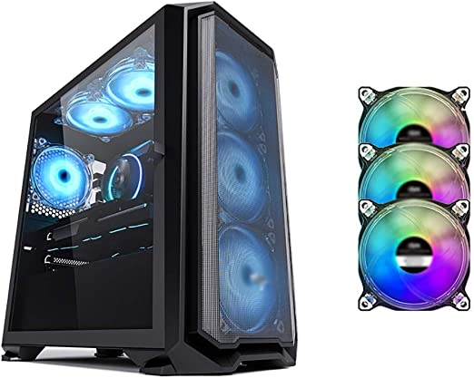 WSNBB Gaming Case Mid-Tower ATX//M-ATX//ITX PC Gaming Computer Case,Tempered Glass,for Desktop PC Computer,Black
