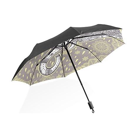 COOSUN Vector boho étnico Patrón sin fisuras elefante personalizado plegable de Sun paraguas de la lluvia