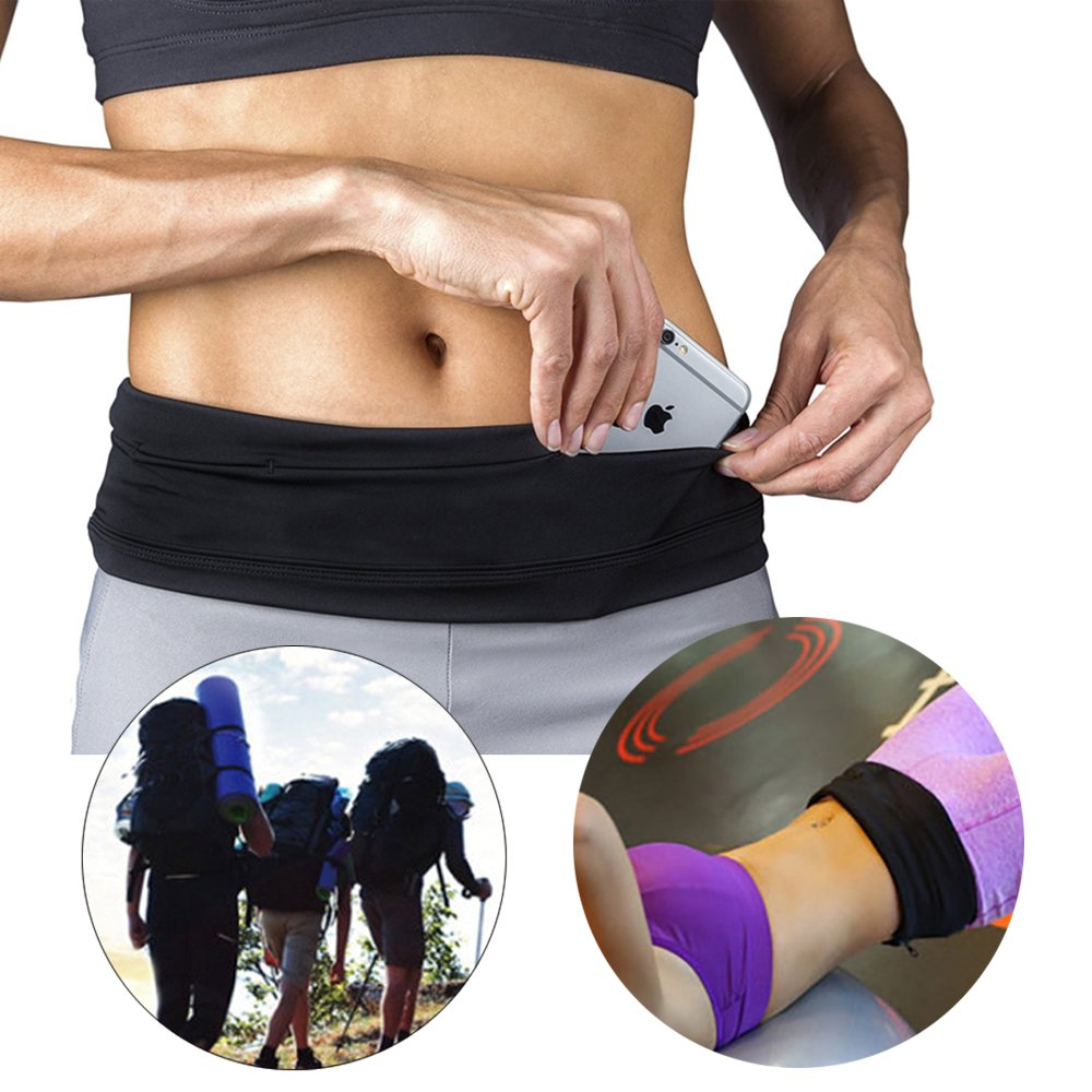 Running Belt & Fitness Workout Fanny Pack,Adjustable Sports Travel Money Wrist Band Pack with 4 Pockets, Key Clip,Fits All Cell Phones for Cycling,Jogging Outdoor Activities(black, Small) by emall