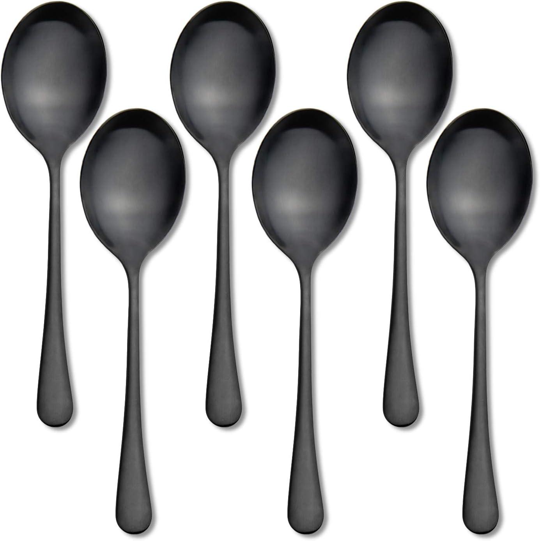 AOOSY Cucharas para Servir 6 PCS 10 Pulgadas Cucharas para Servir Acero Inoxidable Cena Cucharadas Extra Grandes Banquetes Buffet Utensilio para Servir Cucharas de Sopa de Plata Negro