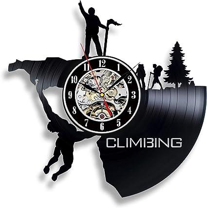 Reloj de pared vinilo escalada alpinista decoración de montaña dormitorio accesorios Regalos escaladores Travel extrema Room Decor actual Art