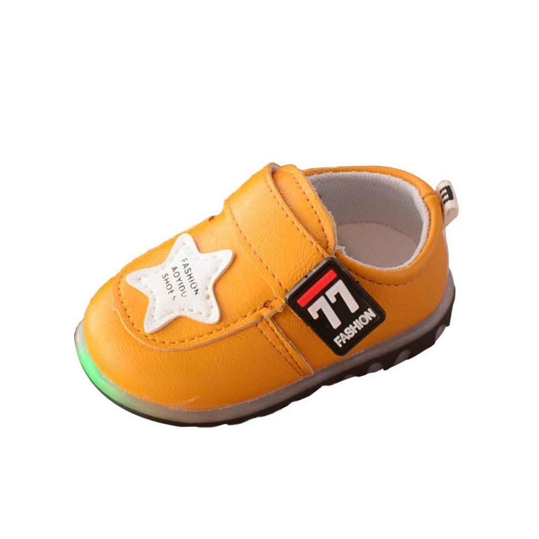 Baby Schuhe mit Licht, FNKDOR Kleinkind Jungen Mä dchen Rutschfest Lauflernschuhe Sneaker mit LED, 0-3 Jahre