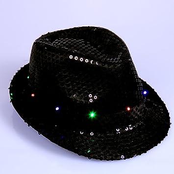 37d0704c0d5f4 Anleolife Led Fedora Hats Black For Men Boys Flashing Led Cap Novelties  Dance Hat School Show