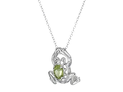 be5872cb2dbcf Sterling Silver Genuine Peridot Frog Pendant Necklace, 18