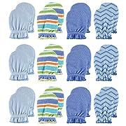 Luvable Friends Scratch Mittens, 12 Pack, Blue Patterns