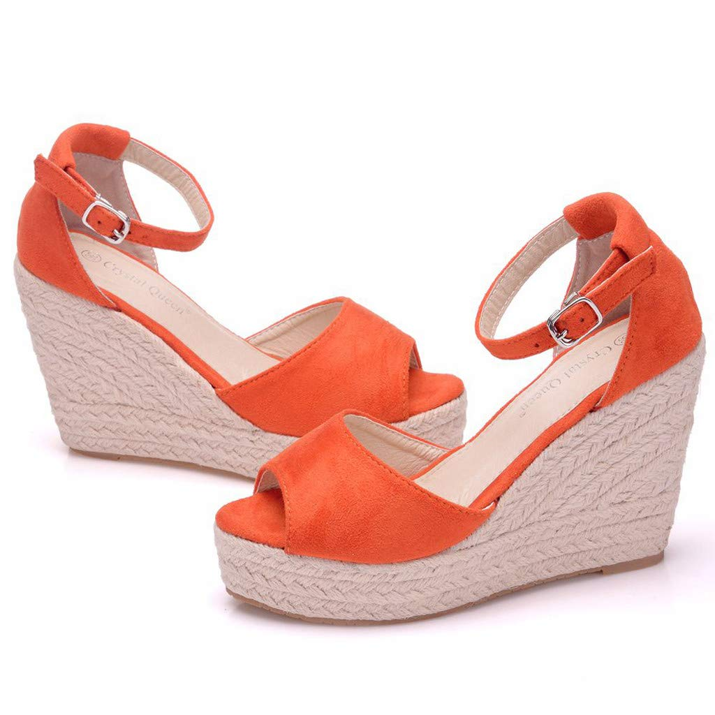 Wedge Sandals for Women,Summer Women Platform Shoes Ankle Strap Espadrille Wedge Heel Sandals (US:6, Orange) by Yihaojia Women Shoes (Image #6)